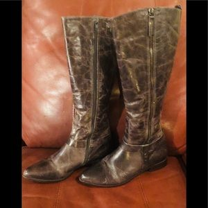 Matisse Wilmer Distressed Tall Leather Brown Boots